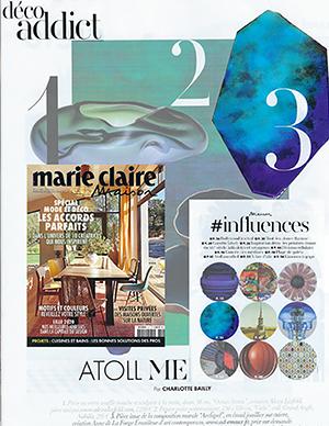 déco addict dans presse magazine Marie -Claire Maison mai juin 2020 – tendances 2020 - art mural création Anne de La Forge