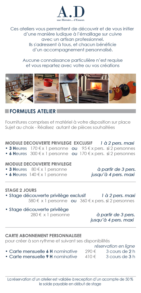 STAGES Formules Ateliers
