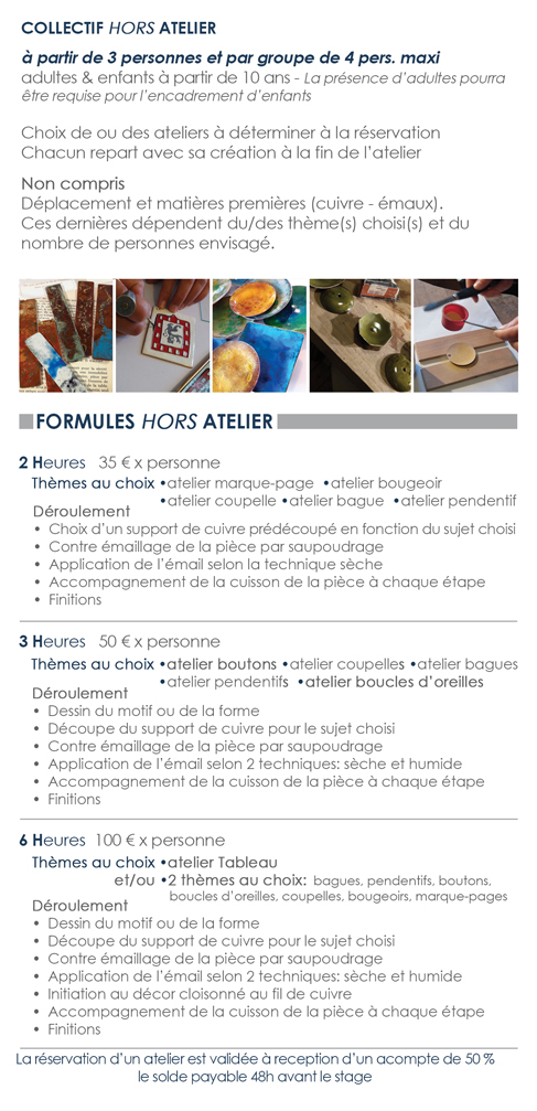 STAGES Formules Collectifs Hors Ateliers