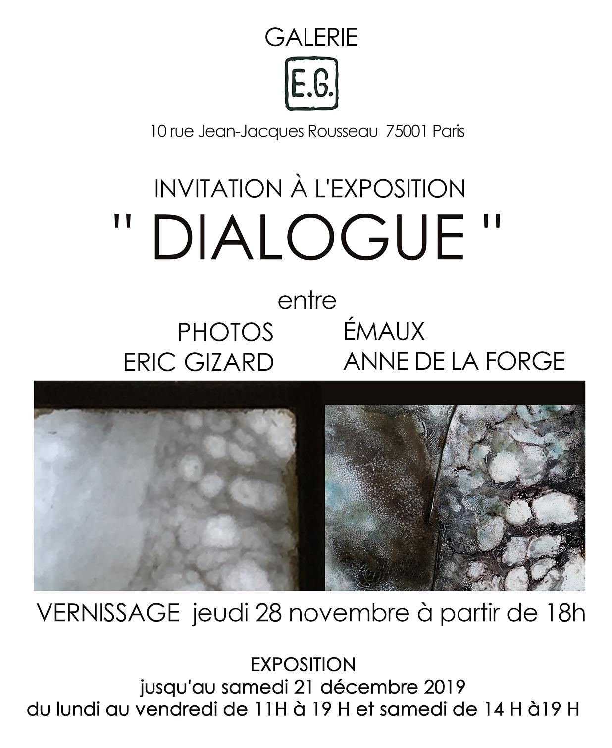 affiche de l'exposition Dialogue fin 2019 début 2020
