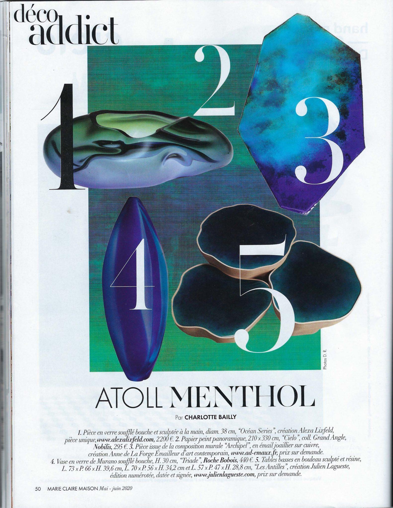 page déco addict dans presse magazine Marie -Claire Maison mai juin 2020 – tendances 2020 - art mural création Anne de La Forge