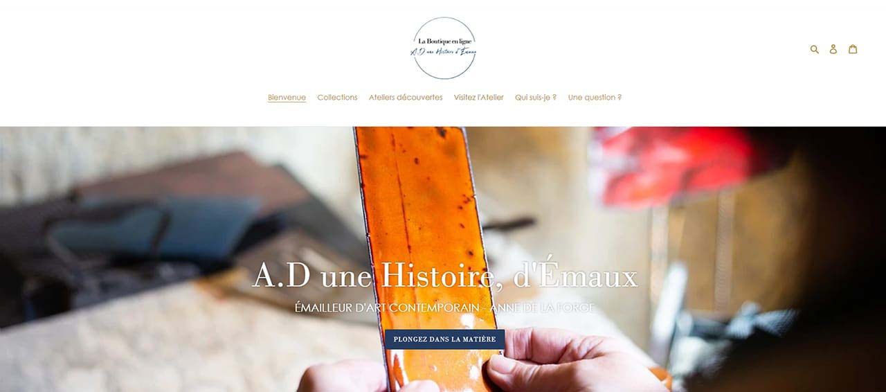 émaux d'art contemporains - Visuel de la boutique en ligne du Créateur Anne de La Forge, de tableaux, cartes créations murales des stages et de cartes cadeaux . pièces uniques du créateur