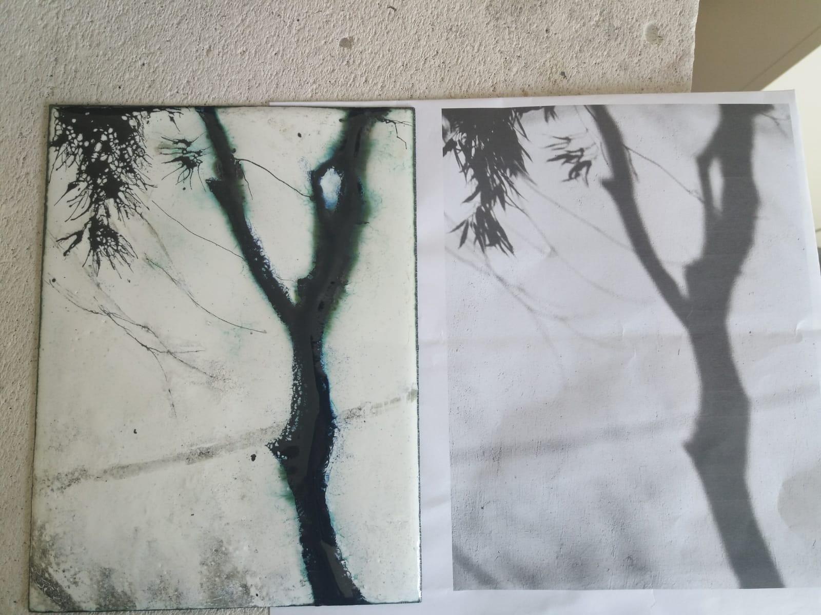 vue à l'atelier sur tavail en cours de l'ombre et le vent -émaux et modèle