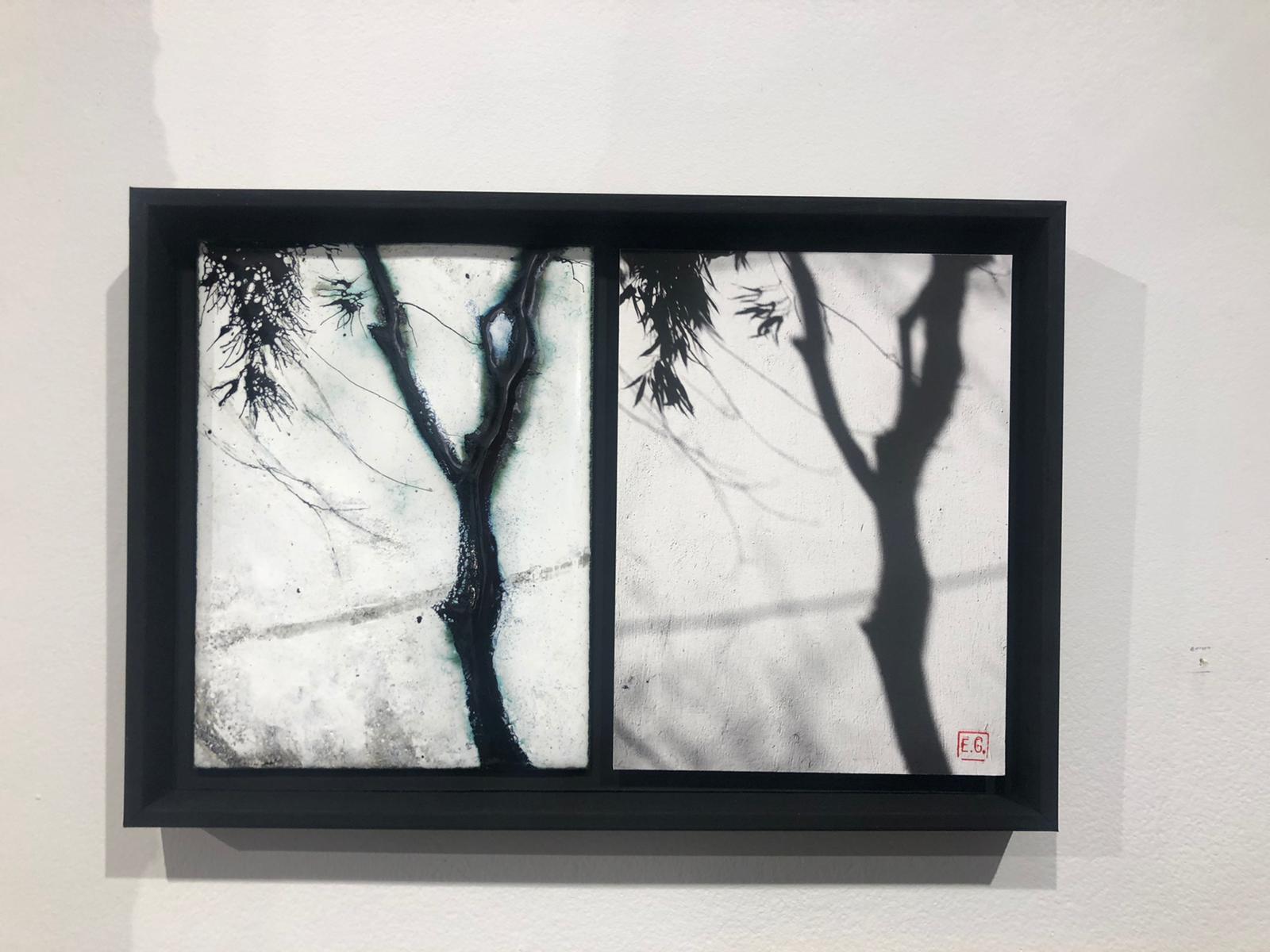 Tableau représentant l'ombre d'un arbre bercé par le vent - à gauche la version émaillée et à droite la photo