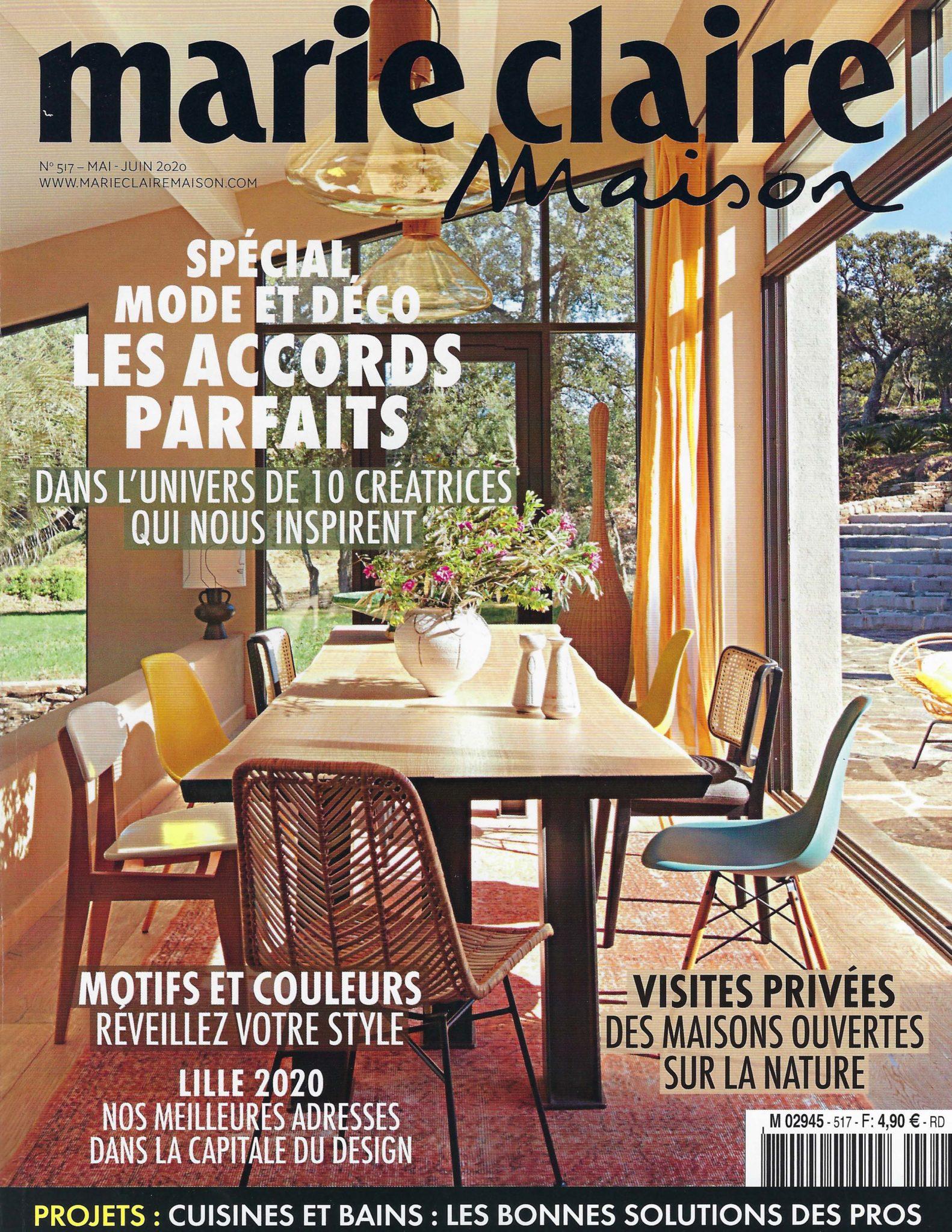 Parution presse magazine Marie -Claire Maison mai juin 2020 – Influences et tendances déco 2020 - art mural création Anne de La Forge