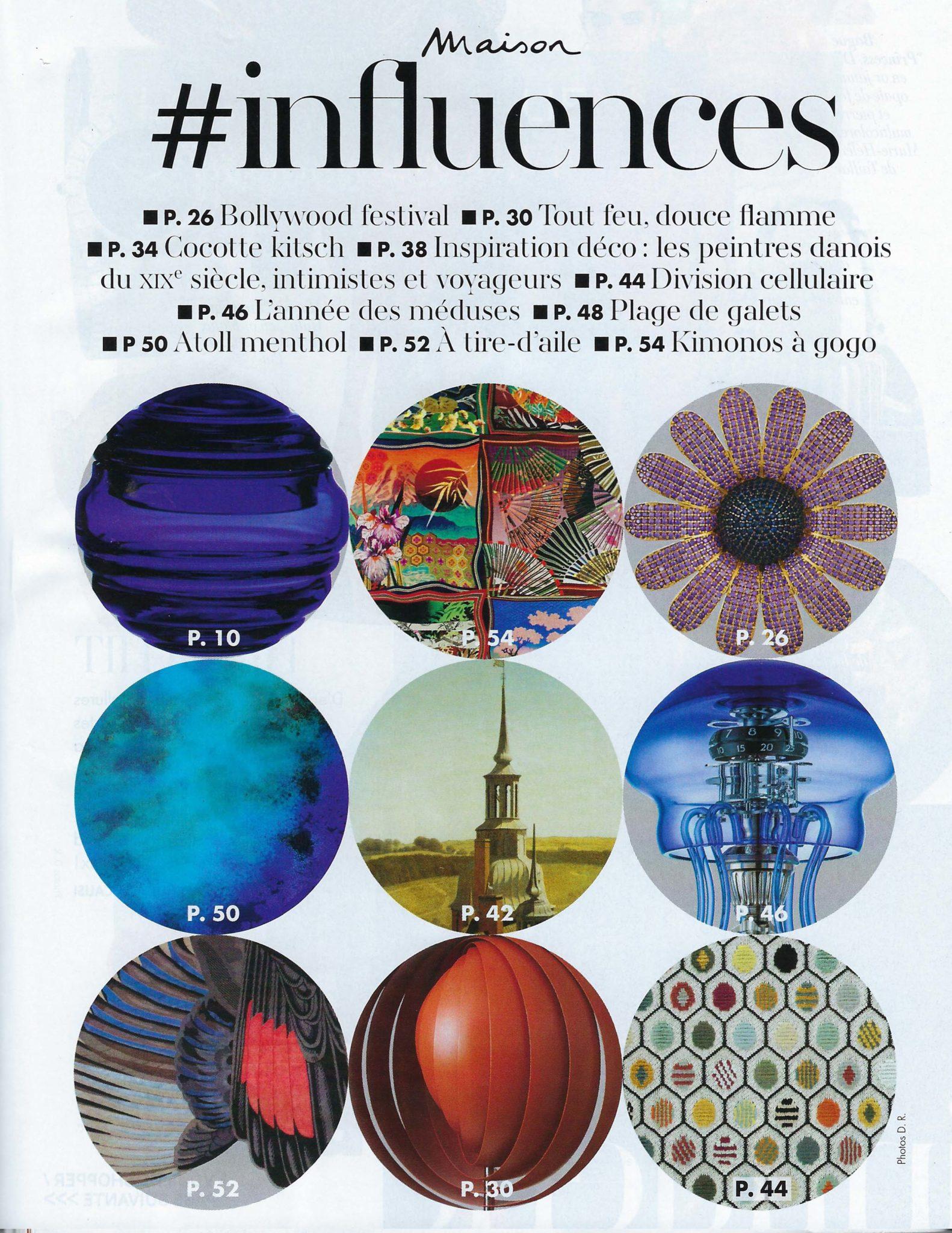 Création art mural Anne de La Forge. Parution presse magazine Marie-Claire Maison mai juin 2020 – Influences déco 2020