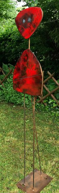 """sculpture, """"Miroirs d'âmes """" émaux rouges"""
