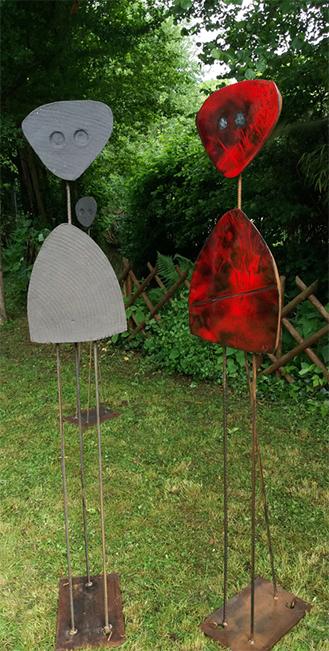 """2 sculptures, """"Miroirs d'âmes """" Duo émaux rouges et grès de la céramiste Mizanne"""