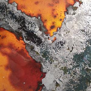 Détail de l'arbre du triptyque SOSSUSVLEI - émaux joailliers sur cuivre