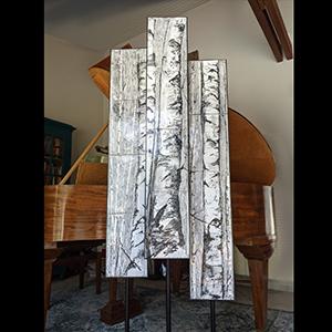 Totems Bouleaux -Émaux sur cuivre - noir et Blanc